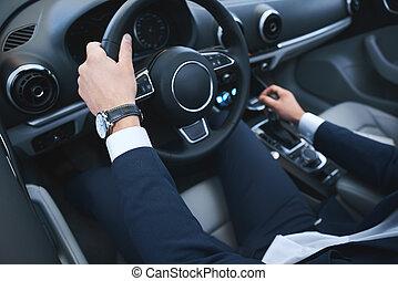 business, voiture, conduire, jeune, essai, nouvel homme