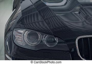 business, voiture, tondu, photo:, lumière noire, devant, close-up., classe