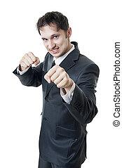 business voják box, do, ta, rána, (punching)