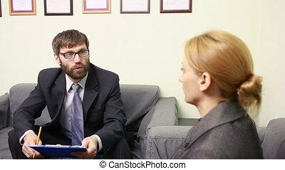 business, volonté, entrevue, chef, rapport, woman., homme