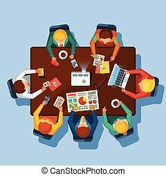 business, vue, affiche, sommet, plat, réunion