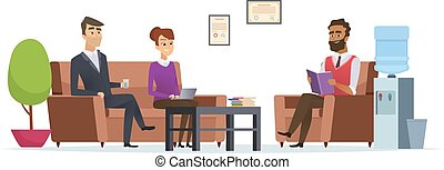 Business waiting room. People at office lobby modern interior sitting tea break reception vector characters