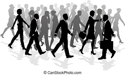 Business walking crowd rushing people - Business crowd of...