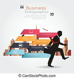 Business walking with infographic building background