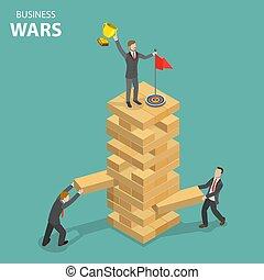Business war flat isometric vector concept.