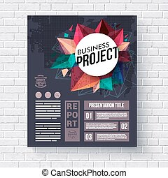 Business Web Template on Brick Wall Background