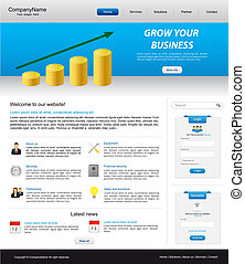 business website template with coin stack