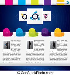 Business website template with colorful labels