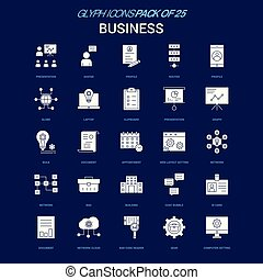 Business White icon over Blue background. 25 Icon Pack
