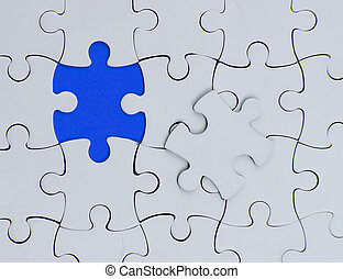 business white puzzle concept. one pice blue