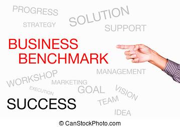 business, whiteboard, point référence, apparenté, autre, mots, mains, manuscrit
