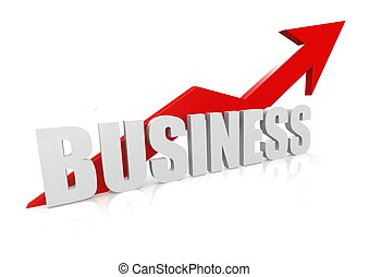 Business with upward red arrow