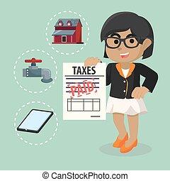 Business woman already paid taxes