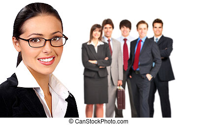 Business woman and a group of people.
