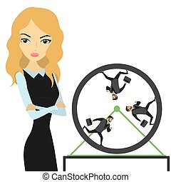 Business woman and business people running in a wheel