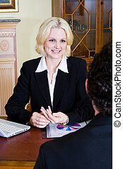 business woman and client - a female business woman...