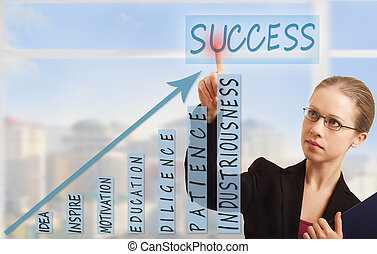 business woman and concept of success, growth and development
