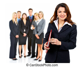 Business woman and group of people.