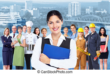 Business woman with blue folder and a group of business person.