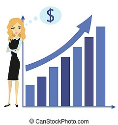 Business woman and growth chart