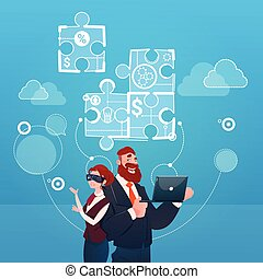 Business Woman And Man Wear Digital Virtual Reality Glasses Collect Puzzle Teamwork Strategy Concept