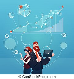 Business Woman And Man Wear Digital Virtual Reality Glasses Finance Graph Financial Success Concept