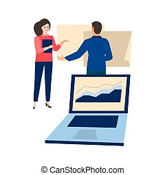 Business woman and man working on tables, graph on white background design. Computer in the office. Laptop in the foreground with a positive graph, the arrow goes up. Colorful vector illustration