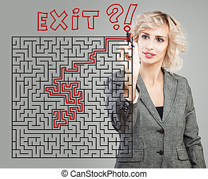 Business woman and maze background. Success, planning, problem and solution concept