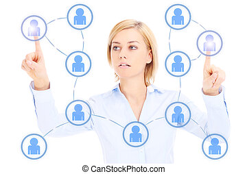 Business woman and social network - Young businesswoman and...