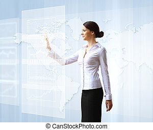 Business woman and touchscreen technology