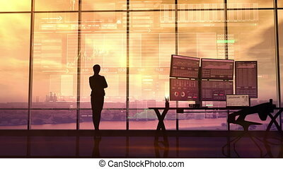 Business woman and trading analytics - Silhouette of...