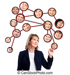 Business woman and virtual community. Group of people....