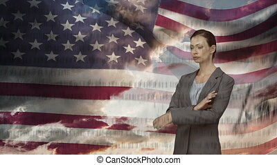 Business woman and written constitution of the United States with flag and the sky