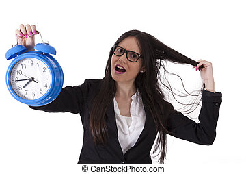 Business woman angry with alarm