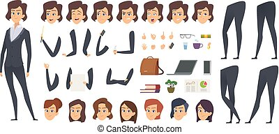 Business woman animation. Creation kit female manager body parts and office tools vector character constructor