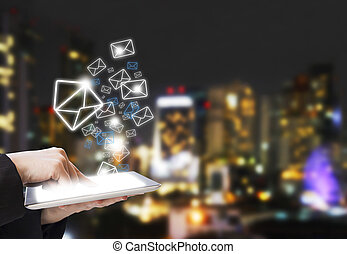 Business woman are sending email marketing
