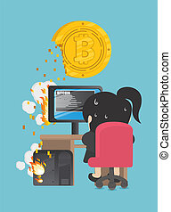 Business woman are trying to dig a bitcoin . computer has been damaged.