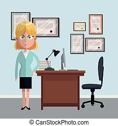 Business woman at office cartoons