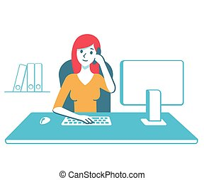 Business woman at office desk - Young business woman, ...