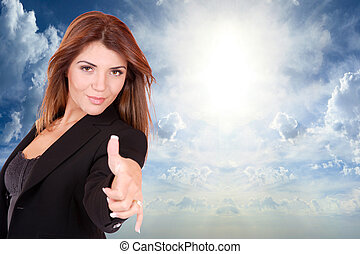 Business woman at the office - Business woman thumb up over...