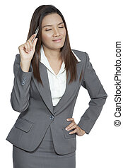Business woman attractive beautiful young pretty smiling...