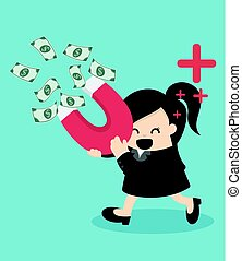Business woman attracts money with a large magnet illustration