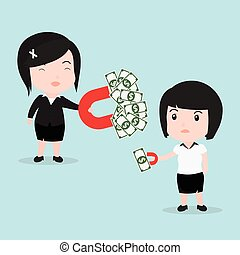 Business woman attracts money with a large magnet