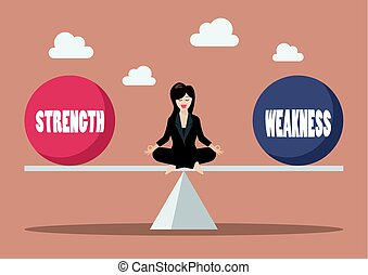 Business woman balancing between strength and weakness