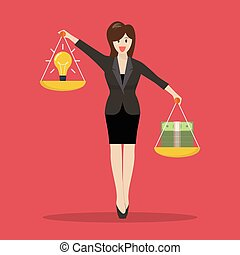 Business woman balancing idea and money on two weighing trays on both hands