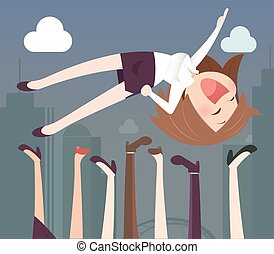 Business woman being thrown in the air
