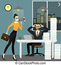 Business woman boss screams into a megaphone by a tired office worker man