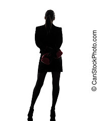 business woman boxing gloves silhouette