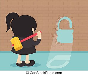 business woman Break the wall Concept flat vector illustration, isolated on background.