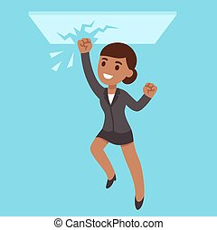 Business woman breaking glass ceiling - Black business woman...